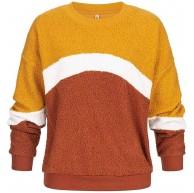 Hailys Damen Pullover Colorblock Sweater Teddyfell Pulli Curry gelb GrL Bekleidung
