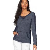 KangaROOS Damen Pullover mit Spitze 36 38 Blau Bekleidung