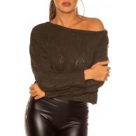 Koucla Crop Grobstrick Pullover mit Zopf-Muster One Size Einheitsgröße Bekleidung