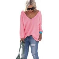 Mikos Schöner Sommer Sexy Pullover mit V-Ausschnitt Pulli tollen Farben S M Rosa Bekleidung