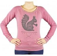Sublevel Damen Sweatshirt Pullover im Used Look Rundhals mit Squirrel Aufdruck Bekleidung