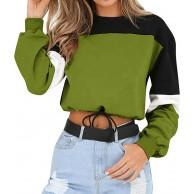 TWIFER Damen Langarm Sweatshirt Spleißen Farbe Pullover Sweater Bluse Bekleidung