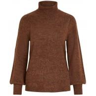 Vila Clothes Damen VIESHA Knit Rollneck L S TOP Rollkragenpullover Orange Golden Oak Detail W. Toffee MGM X-Small Herstellergröße XS Bekleidung
