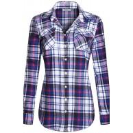 BodiLove Damen Flanell Lange Roll-up Ärmel Knopfleiste Plaid Shirt Bekleidung