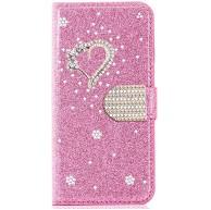 Miagon für Samsung Galaxy Note 8 Glitzer Brieftasche Hülle 3D Diamant PU Leder Case Kartenslots Ständer Strass Wallet Flip Cover Herz Rosa Bekleidung