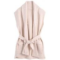 YWSZJ Frauen Feste Umdrehende Kragen Gestrickte Weste Weste Sweater Vintage Sleeveless Taschen Weibliche Chic Tops Size M Code Bekleidung