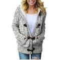 AFFUHUA Strickjacke für Damen Winter Cardigan Grobstrick Strickcardigan Strickmantel mit Kapuzen Taschen Cardigan Bekleidung