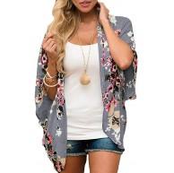 Damen Florale Kimono Cardigan - Chiffon Cardigan Damen Lose Kimono Casual Bluse Shawl Sommer Strand Bikini Cover Up Bekleidung