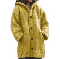 guangruiorrty Damen Langarm Hoodie Cardigan Grobstrick Einfarbig Knopf Pullover Mantel Bekleidung