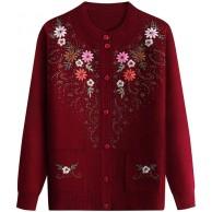 HACM Winter Strickjacke Jacke Ältere Frauen Strickpullover Mäntel Übergröße Strickstickerei Pullover Weiblich Oma Pullover Strickjacken Bekleidung
