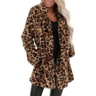 KPPONG Pullover Damen Warm Revers Leopard Teddy-Fleece Strickjacke Plüsch Pulli Langer Mantel Cardigan Ubergangsjacke Bekleidung