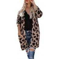 Lulupi Damen Leopard Lange Cardigan mit Taschen Braun Strickjacke Frauen Open Front Langarm Jacke Dünne Pullover Herbst Winter Strickmantel Bekleidung