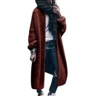OEAK Damen Strickjacke Lang Cardigan Grobstrick Langarm Strickmantel Herbst Winter Übergangsjacke Strick Pullover Pulli Sweater Outwear Bekleidung