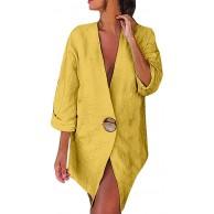 WUSIKY Blazer Damen Strickjacke Bolero Dünne Jacken Einfarbig Buttons Langarm Cotton and Linen Cardigan Lose Anzüge Mantel Bekleidung
