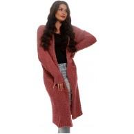 YC Fashion & Style Damen Cardigan Kuschel Strickjacke Offener Strickmantel Herbst Winter Jumper One Size One Size Violettred Bekleidung