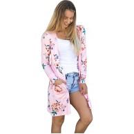 Zhaoyun Damen Blumenmuster Langarmshirt Strickjacke Cardigan Kimono Lose Oberteil Mantel Jacke Bekleidung