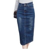 DAHDXD Langer Jeansrock Vintage Button Hohe Taille Bleistift Schwarz Blau Schlank Frauen Röcke Plus Size Damen Bekleidung