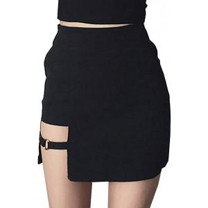 Damen Asymmetrisch Röcke - Mode Hoch Taillierte Slim Fit A-Linie Minirock Sommer Frühling Casual Bleistiftröcke Gut für Party Verein Schwarz S M Bekleidung