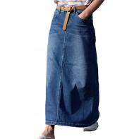 Damen Jeansrock Casual Denim Rock Mode Maxi Röcke Lange Denim Rock Ledergürtel Lang Skinny Jeansrock Slim Fit Jeanskleid Bekleidung
