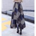 Damen Vintage Elegant Plaid Gestreiftes Wollrock hohe Taille Langen röcke Mädchen Warm Wolle Retro Winterrock Herbst Elastische Taille Falten Rock Bekleidung