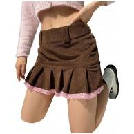 Dwevkeful Damen Minirock Hohe Taille A-line Faltenrock Pleated Skater Tennis School Skirt Uniform Skirts Sportskort Streetwear Stretchy Informal Skater Rock Unterröcke Bekleidung