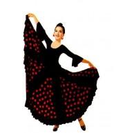 Flamenco Flamenco Tanzrock Gitane andalouse schwarz gepunktet rot Erwachsene Bekleidung