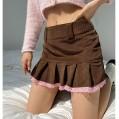 Jumpp Damen Casual Jeans Mini Rock Slim A-Linie Falten Rüschen Kurz Denim Röcke Bekleidung