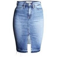 LAEMILIA Damen Jeansrock Hohe Taille Bleistift kurzen Minirock Slim Fit Used-Look Quaste Beiläufig Denim Rock Bekleidung