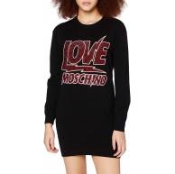 Love Moschino Damen Long Sleeve Knitted Lightning Rock Logo Casual Dress Bekleidung