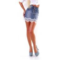 OSAB 4925 Fashion Damen Jeans Mini Rock Jeansskirt Jeansrock Denim Spitzensaum Knopfleiste Bekleidung
