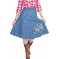 Queen Kerosin Damen Jeansshorts Mit Stickereien Im Western Look Aufschlag Jeansshorts Normal Used Bekleidung