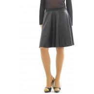 Rock Knielang schwingend Lack-Leder-Optik Fleece innen Swing Skirt Bekleidung