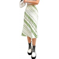 Woman E-Girl Green Fashion Midi Skirt Y2K High Waist Printed Skirts Summer Party Casual Daily Wear Bekleidung