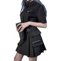 Women's Gothic Punk High Waist Mini Skirts Y2K E-Girl A-Line Ruffle Short Pleated Skirts withBelt Pocket Bekleidung