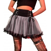 Womens Patchwork Pleated Skirts Gothic Mini Skirts Clubwear High Waist Lace Up A-Line Skirt Y2K Streetwear Bekleidung