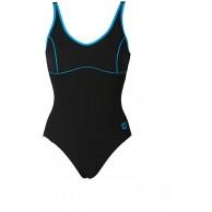 arena W Tania Clip Back Damen-Kostüm damen 000911 Schwarz Türkis 42 Herstellergröße 48 Bekleidung