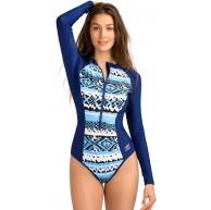 AXESEA Damen-Badeanzug langärmelig UV-Schutzfaktor 50+ mit Reißverschluss zum Surfen einteiliger Badeanzug Bekleidung