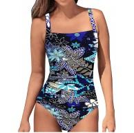 Brosloth Damen Badeanzug Tummy Control Monokinis Bauchweg Einteilige Bademode Swimwear Push Up Badeanzüge Plus Size Badebekleidung Blau Floral EU40 Bekleidung