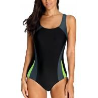 Charmo Damen Sportlicher Einteiler Badeanzug Racer Back Schwimmanzug Figuroptimizer Bademode mit Polsterung Grau L Bekleidung