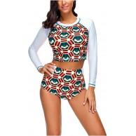 CHIC DIARY Damen Sport UV-Schutz Rash Guard Einteile Langarm Badeanzug Push Up Slip Bademode mit Reißverschluss Bekleidung