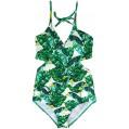 CHIC DIARY Einteiliger Badeanzug Damen Sexy Push Up Bikini Bademode Neckholder Rückenfrei Monokini Schwimmanzug Strandmode Grün XXL Bekleidung