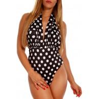 Damen Neckholder Badeanzug Tupfen Design One Piece Monokini Beachwear Body Bekleidung