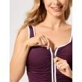 DELIMIRA Damen Einteiler Badeanzug - Vorne Reißverschluss Schale Slim Bademode Dunkelrot 44 Bekleidung