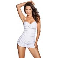 DOBREVA Damen Bandeau Bademode - Einteiler Halfter Slim Badeanzug Mit Röckchen Weiss 42 Bekleidung