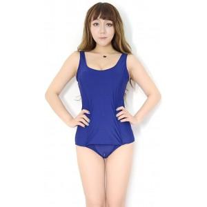 Fallinoce Japanisches Cartoon-Kostüm Sukumizu Schul-Badeanzug Vorderrock für Damen sexy Schritt unten mit Reißverschluss einteiliger Body Bekleidung