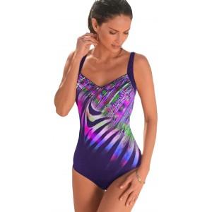 FIYOTE Damen Badeanzug Oversize Bademode Bauchweg Sportlich Tankini Push Up figurformend Bandeau Lila 2 XXL Bekleidung