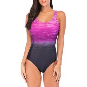 Lulupi Damen Badeanzug Sport Schwimmanzug Einteiler Bauch Weg Body Shape Bademode Farbverlauf Bunt Rückenfrei Swimsuits One Piece Strandmode Bekleidung