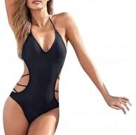 ReooLy Damen Bademode Beachwear Solide 1 Stück Hohl Bikini Badeanzug Badeanzug Bekleidung