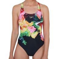 Speedo Damen Colourblend Placement Digital Powerback Schwimm-Slips Bekleidung