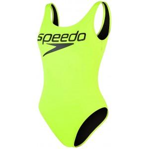 Speedo Damen Logo Deep U-Back 1 Piece Badeanzug Bekleidung